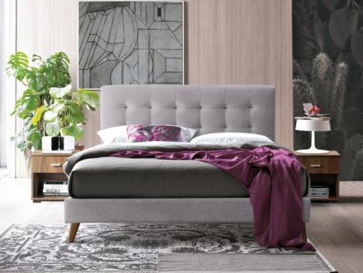 berkely light grey fabric bed image