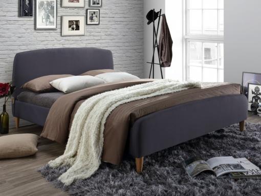 conway dark grey fabric bed image