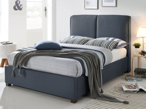 ludlow dark grey fabric bed image
